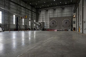 Blade testing bays at the Wind Technology Testing Center near Boston, Massachusetts.