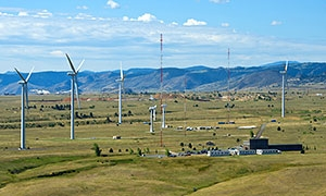 Photo of the wind turbines and mountains around the National Wind Technology Center.
