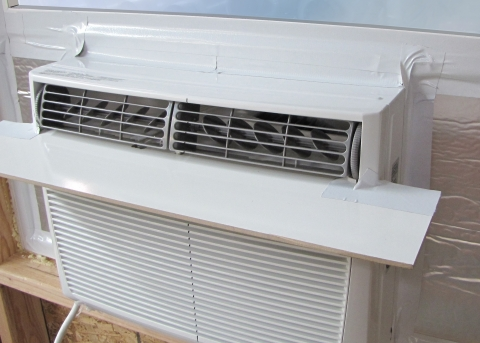 Photo of a window air conditioner.