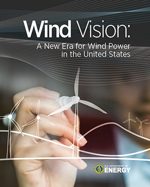 A screen shot of the cover of the 2015 Wind Vision Report