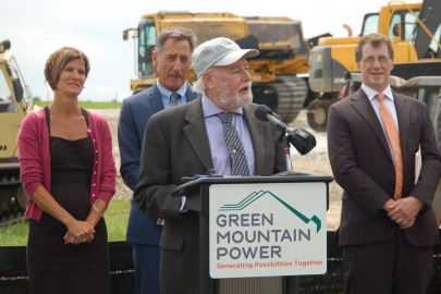 Dr. Imre Gyuk -- pictured speaking at a Green Mountain Power energy storage event -- was recently recognized for his game-changing work in energy storage. | Photo courtesy of the Clean Energy States Alliance.