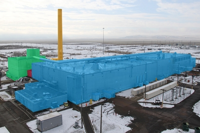 Demolition of PFP will occur in stages, as indicated in the shaded sections above. Demolition will start with the Plutonium Reclamation Facility (green), followed by 242-Z (red), the main processing building (blue), followed by the ventilation stack (orange).