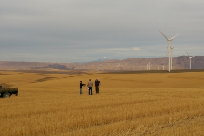 Project team members from WFIP 2 meet at the Biglow Canyon Wind Farm, a data-collection site in Sherman County, Oregon. Photo courtesy: Justin Sharp/Vaisala