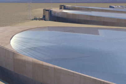 Giant Leap Technologies uses microfluidics to bend light toward a solar at the top of the plant. Each solar thermal power plant shown is a football field in size.  |  <em>Photo courtesy of Giant Leap Technologies</em>