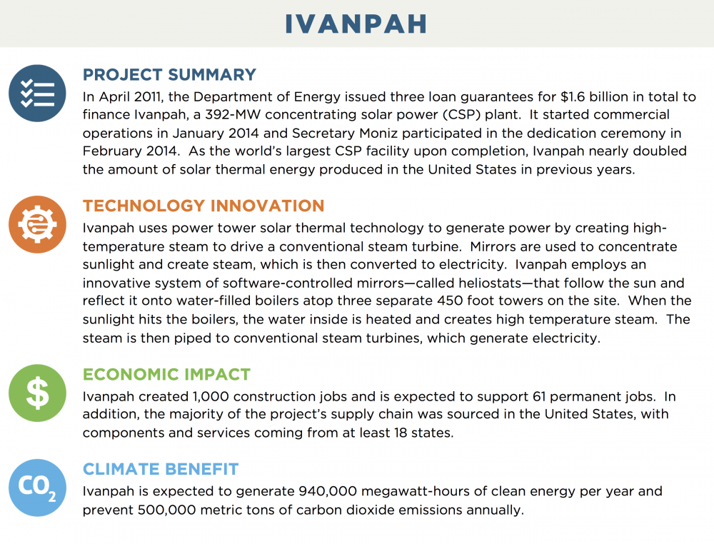 IVANPAH PROJECT SUMMARY In April 2011, the Department of Energy issued three loan guarantees for $1.6 billion in total to finance Ivanpah, a 392-MW concentrating solar power (CSP) plant.  It started commercial operations in January 2014 and Secretary Moniz participated in the dedication ceremony in February 2014.  As the world's largest CSP facility upon completion, Ivanpah nearly doubled the amount of solar thermal energy produced in the United States in previous years. TECHNOLOGY INNOVATION Ivanpah uses power tower solar thermal technology to generate power by creating high-temperature steam to drive a conventional steam turbine.  Mirrors are used to concentrate sunlight and create steam, which is then converted to electricity.  Ivanpah employs an innovative system of software-controlled mirrors—called heliostats—that follow the sun and reflect it onto water-filled boilers atop three separate 450 foot towers on the site.  When the sunlight hits the boilers, the water inside is heated and creates high temperature steam.  The steam is then piped to conventional steam turbines, which generate electricity. ECONOMIC IMPACT Ivanpah created 1,000 construction jobs and is expected to support 61 permanent jobs.  In addition, the majority of the project's supply chain was sourced in the United States, with components and services coming from at least 18 states. CLIMATE BENEFIT Ivanpah is expected to generate 940,000 megawatt-hours of clean energy per year and prevent 500,000 metric tons of carbon dioxide emissions annually.