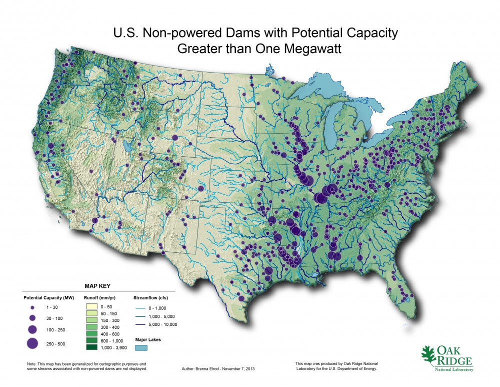 Map of the United States from the Non-Powered Dams Resource Map