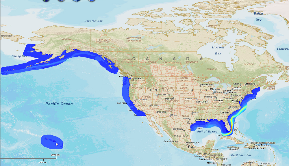 Screenshot of a map showing an assessment of energy production potential from ocean currents in the United States.