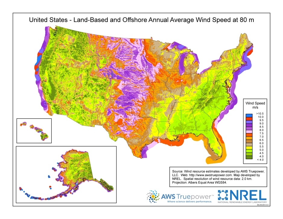 An image of the wind resource map that shows where the United States wind resources are located.