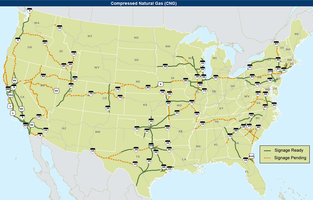 CNG Alternative Fuel Corridor Map as of January 5, 2017