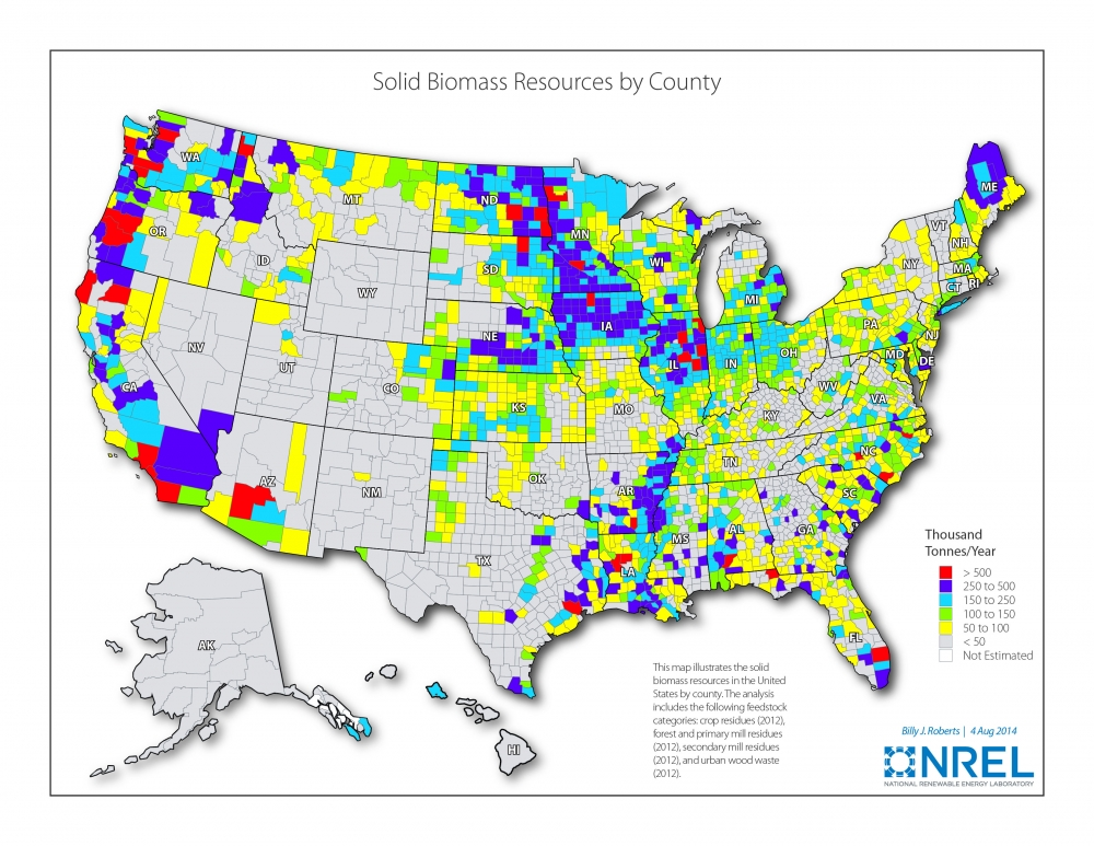 Map showing bioenergy resources in the United States.