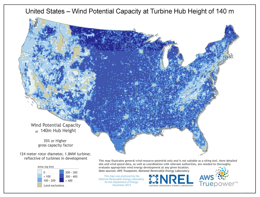 United States wind potential capacity at 140 meters.