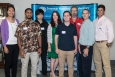 SRNL interns gather with their mentors at the laboratory, from left to right: Connie Yung, SRNL MSIPP program manager; Jamal Reynolds, intern, Mercer University; Guannian Zeng, intern, City College of New York; Anna Knox, SRNL scientist; Daniel Berry, intern, University of South Carolina-Aiken; Thomas Ansley, SRNL scientist; Tad Whiteside, SRNL scientist; and Charles Heindel, intern, Georgia Southern University.