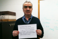 Marius Stan, computational energy scientist from Argonne National Lab, submits his verification photo as part of an informal question and answer session with Internet users on the Ask Me Anything section of the social website Reddit.