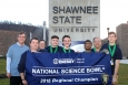 Portsmouth Notre Dame captured the U.S. Department of Energy's 4th Annual South Central Ohio Regional Science Bowl title at Shawnee State University in Portsmouth, Ohio, on Friday, March 11, 2016.  Pictured from left to right are Judson Lilly (DOE), Greg Simonton (DOE), coach Diana March, junior Andrew Smith, sophomore Joseph Beckett, junior Jiten Patel, coach Terry Acox and junior Grant Sparks.  (Photo credit: Marlo Shepherd)