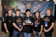 From left, Sam Morehead, Martin Mikulcik, Jaewon Kang, Bobbi Brashear, and Claire Umstead show off their lithium-ion battery-powered car at the DOE National Science Bowl in Washington, D.C. The Calloway County Middle School team finished in the top six nationally in model car design.