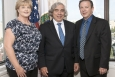 Energy Secretary Ernest Moniz, center, recently honored EM employee Robert (Dennis) Yates from the Savannah River Operations Office, right, as DOE's Facility Representative of the Year for 2013. Also pictured is Yates' wife, Deanna, who works in the Office of Human Capital Management at the Savannah River Operations Office.