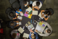Aerial view of STEM Mentoring Café table in Chicago: Photo Courtesy of Argonne National