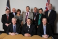 Front row, left to right: John Mathieson, Head of International Relations, U.K. Nuclear Decommissioning Authority (NDA), Joe Franco, Manager, Carlsbad Field Office (CBFO), and Graham Jonsson, Deputy Head, NDA, Sellafield Site; second row, left to right, Andrew Szilagyi, Director, EM Office of Deactivation & Decommissioning and Facility Engineering, Laurie Judd, Vice President for Government Programs, NuVision Engineering, Nancy Buschman, Engineer, EM Office of Nuclear Material Disposition, John Lawes, Contract Manager, Dounreay, Dr. Abraham Van Luik, Manager, International Programs, CBFO, Rosa Elmetti, Foreign Affairs Specialist, EM International Program, and Steve Schneider, Director, EM Office of Tank Waste Management.