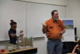 Jeff Wurtz, a Navarro-Intera hydrologist at the Nevada National Security Site, gets some help from GEAR UP summer camp student, Donnea Mayfield, to demonstrate the dynamics of the water cycle and how humans affect it.