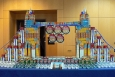 EM's Nevada Site Office took first place in the site-submitted category of DOE's CANstruction Sculpture Contest for its entry, shown here, inspired by London's Tower Bridge during the 2012 Summer Olympics.