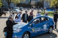 """This hybrid electric Prius that was on display at the National Alternative Fuels Day Odyssey kick-off event has been specially modified for training purposes. With this """"cut-away"""" vehicle, mechanics and other students learning about hybrid electric vehicles can see the inside of the car and better understand how it is different from a conventional gasoline vehicle."""
