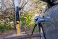 A Chevrolet Volt charges in Rhode Island thanks to a ChargePoint station installed using funding from the American Reinvestment and Recovery Act. | Photo courtesy of NREL