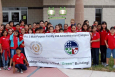 Fifth graders from Pharr-San Juan-Alamo Independent School District's North Alamo Elementary celebrate the opening of the new Precinct 2 Multi-Purpose Facility and Administration Complex in Hidalgo County, Texas. The students received tours of the facility and heard presentations from vendors and other green organizations in the Rio Grande Valley on energy efficiency ideas for the home, recycling, energy production and consumption, wind and solar power and groundwater runoff.