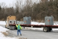 A truck carrying the last two solidified liners from the SPRU Disposition Project sludge campaign leaves the site in late February.