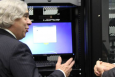 Secretary Moniz visits the Office of Cyber Assessments for hands-on experience with the tools and techniques that are used by sophisticated adversaries to attack modern IT systems.