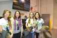 Tina Henne, in the purple scarf, stands with participants in Argonne's Introduce a Girl to Engineering Day in February 2013.