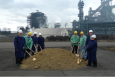 ArcelorMittal, Department of Energy and elected officials gather for the groundbreaking in front of North America's largest blast furnace.