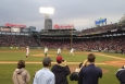 "Secretary Moniz, far right, throws the first pitch at the Red Sox Earth Day game on April 22, 2014. | Photo by <a href=""/node/716056"">Marissa Newhall</a>, Energy Department."