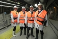 The EM delegation tours the underground installations of the Underground Research Laboratory in France; EM Lead International Affairs Specialist Ana Han, left to right, EM Deputy Assistant Secretary for Waste Management Frank Marcinowski, Carlsbad Field Office Manager Joe Franco and EM Senior Advisor Dave Huizenga.