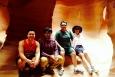 Sandia/Tribal Energy Program 2014 summer interns Thomas Jones, Len Necefer, and Aaron Cate, and their supervisor and mentor Sandra Begay-Campbell. Photo from Thomas Jones, Sandia National Laboratories.