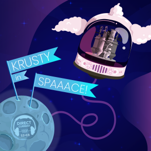"Cover art for Direct Current podcast season 3, episode 8, ""KRUSTY in Spaaace!"" featuring the moon, an astronaut helmet with space for a clown's hair containing a small nuclear reactor."