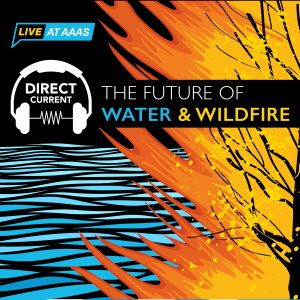 "Cover art for Direct Current podcast episode ""The Future of Water & Wildfire"" depicting an artist's rendering of waves and a burning tree."