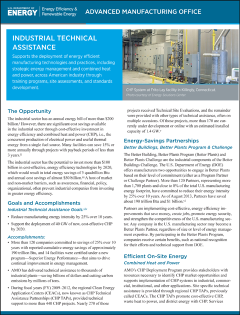 Thumbnail image of the cover of the linked fact sheet about the AMO Technical Assistance Activities