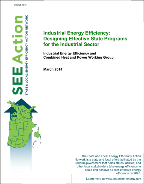 Thumbnail image of the cover of the linked report on designing industrial energy efficiency programs