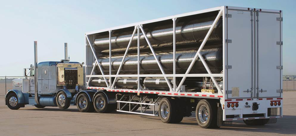 Photo of a hydrogen tube trailer