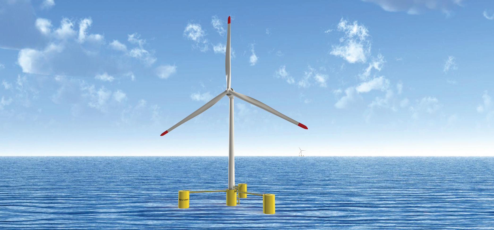 Rendering of a floating offshore wind turbine.